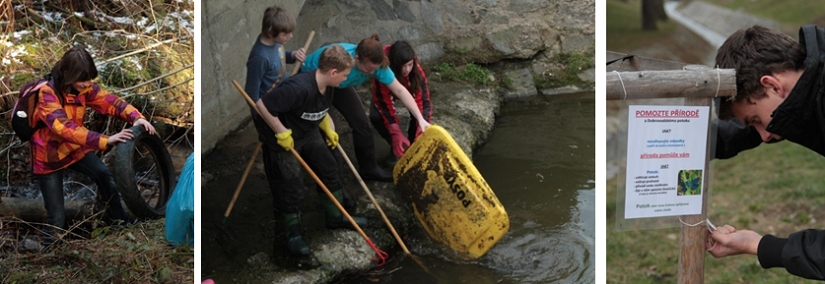 Three images are set side-by-side. The first two show students cleaning up a stream. The third shows a young man putting out a pollution awareness sign near the stream.