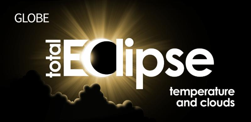 "Total eclipse graphic with an ""eclipse"" image over the C"