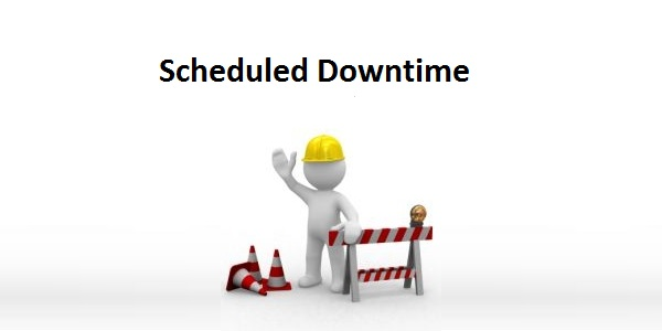 "A graphic showing a figure wearing a construction hat with the words ""Scheduled Downtime"" seen above his head."