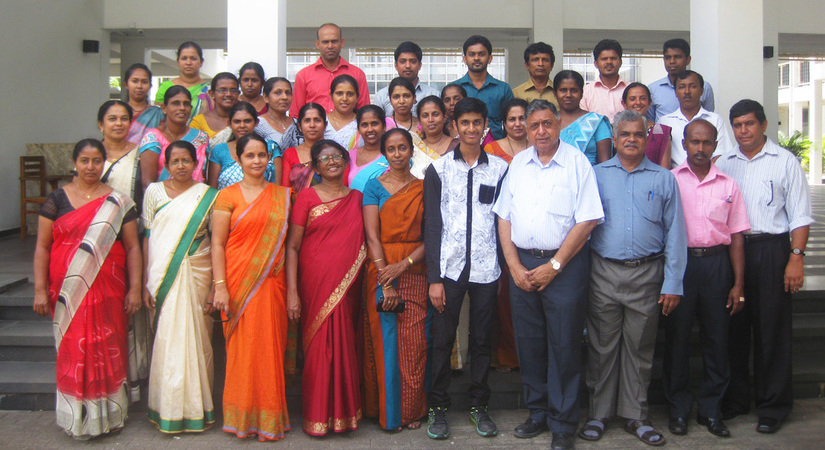 A group of GLOBE Sri Lanka teachers standing for a group photo.