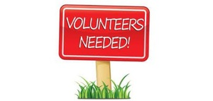 A red volunteers needed sign.
