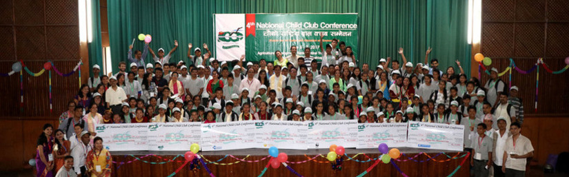 A group photo of students at the National Child Club Conference.