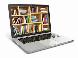 Laptop with books graphic.