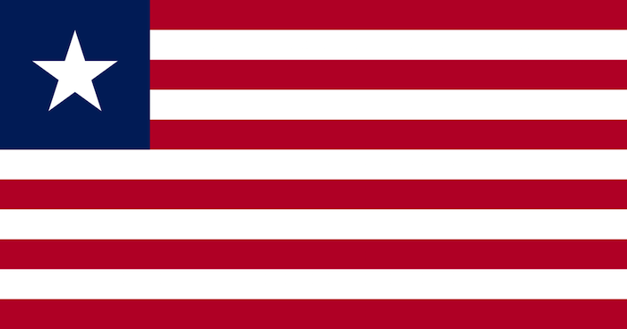 Red and white striped flag with one blue framed star.