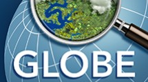 The GLOBE Observer logo showing a magnifying glass over the globe.