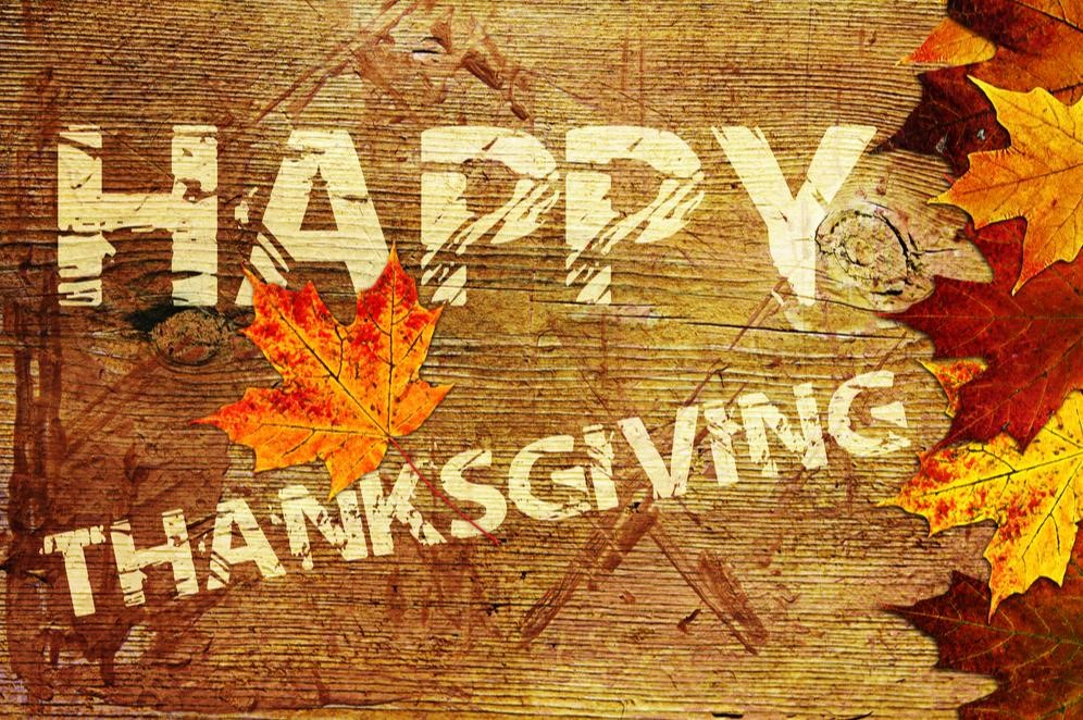 "Graphic that reads, ""Happy Thanksgiving"""
