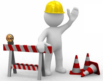 Website down graphic of construction workers