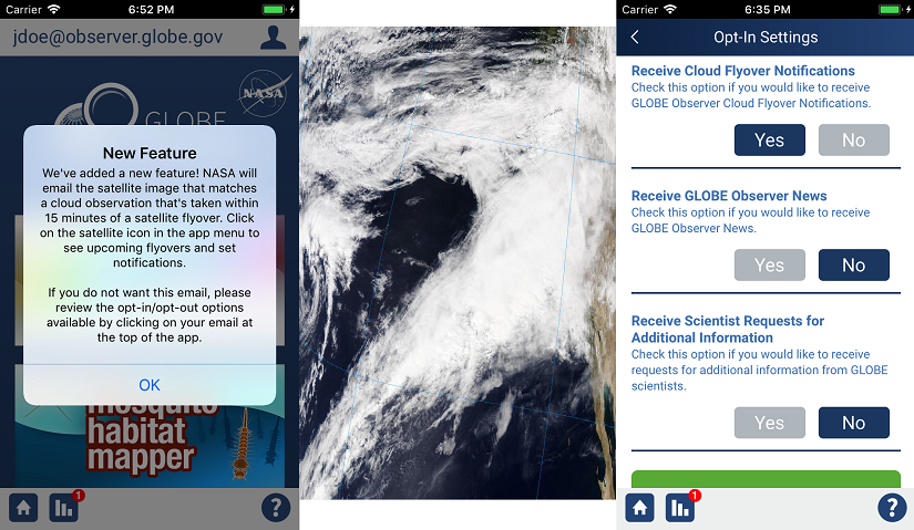 App interface and a satellite image of clouds.