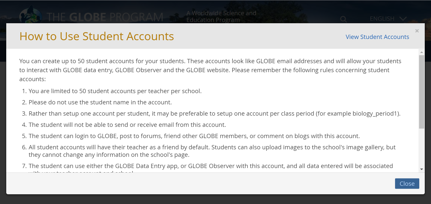 Sample of student account instructions.