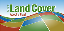 "Land Cover App Icon showing ""GLOBE Land Cover: Adopt-a-Pixel"" text."