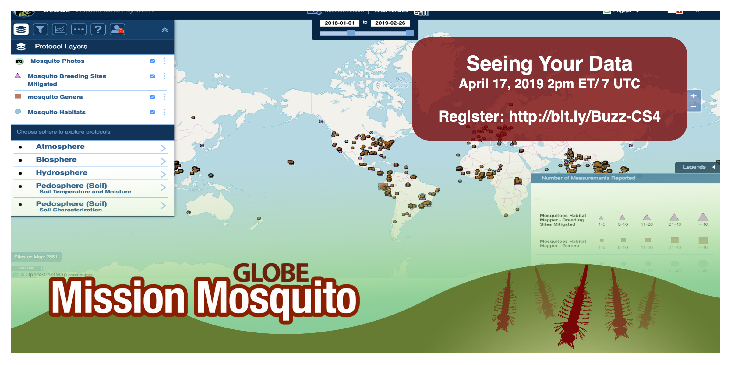 GLOBE Mission Mosquito webinar graphic, with time/date of webinar