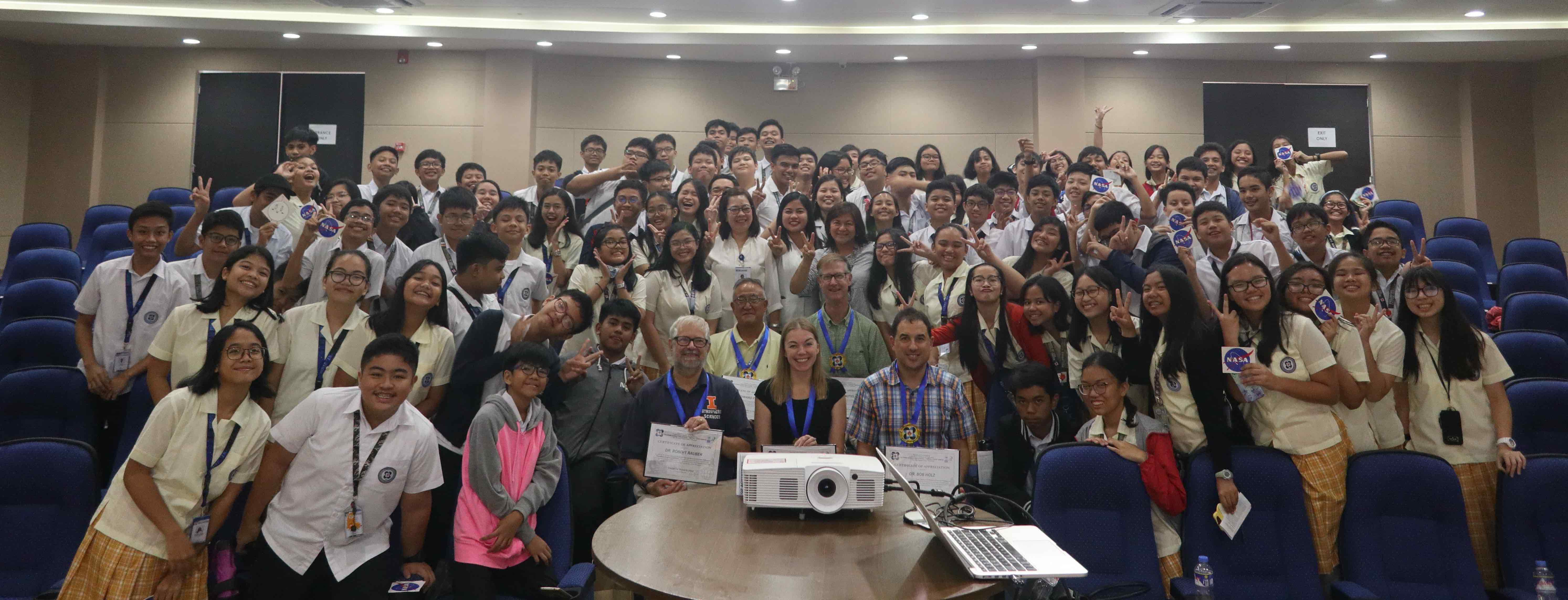 8th grade students from the Philippine Science High School Central Luzon Campus pose with the CAMP2Ex team (center) after a presentation about NASA Earth Science and CAMP2Ex at their school on 09 September 2019.