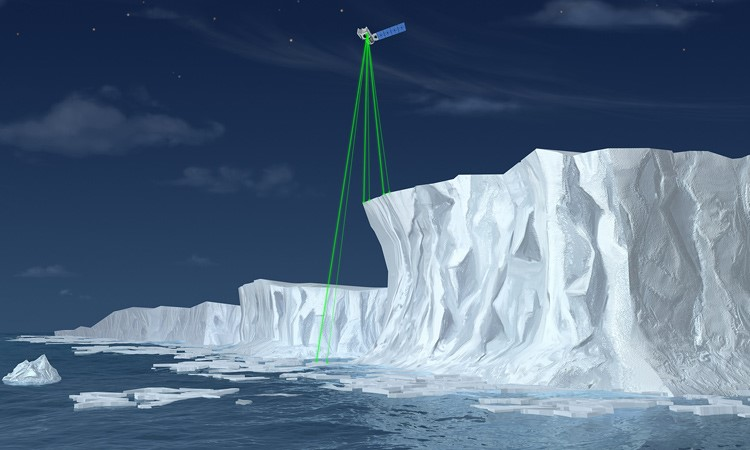 Illustration of NASA's Ice, Cloud, and land Elevation Satellite-2 (ICESat-2), a mission to measure the changing height of Earth's ice. (Credit: NASA)