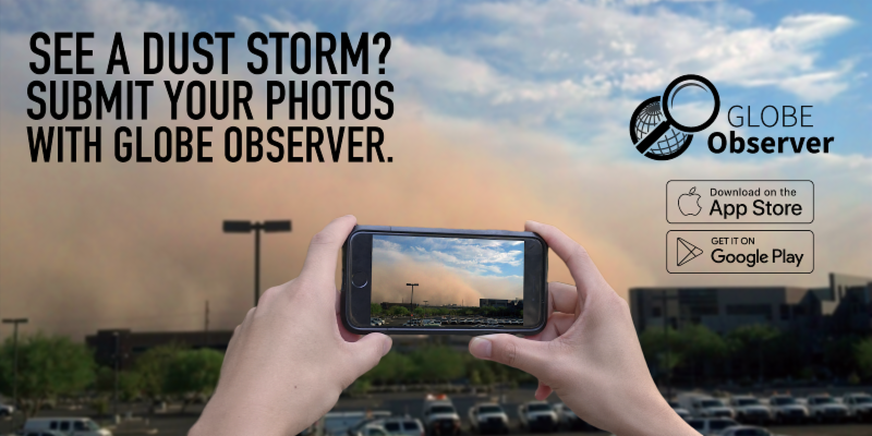A sharable depicting hands holding up a phone that is capturing a dust storm on screen.