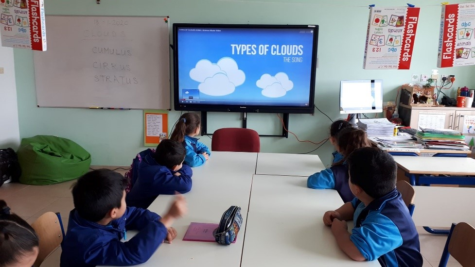 """For Grade 3, the English lesson started with an introductory video about the different type of clouds and a new vocabulary was introduced. Then the teacher read the book 'Little Cloud' by Eric Carle. The students answered a comprehension text and sang a poem about clouds. They were given a 'Cloud book' and they had to fill in the required information about how clouds are described according to height from ground level."""