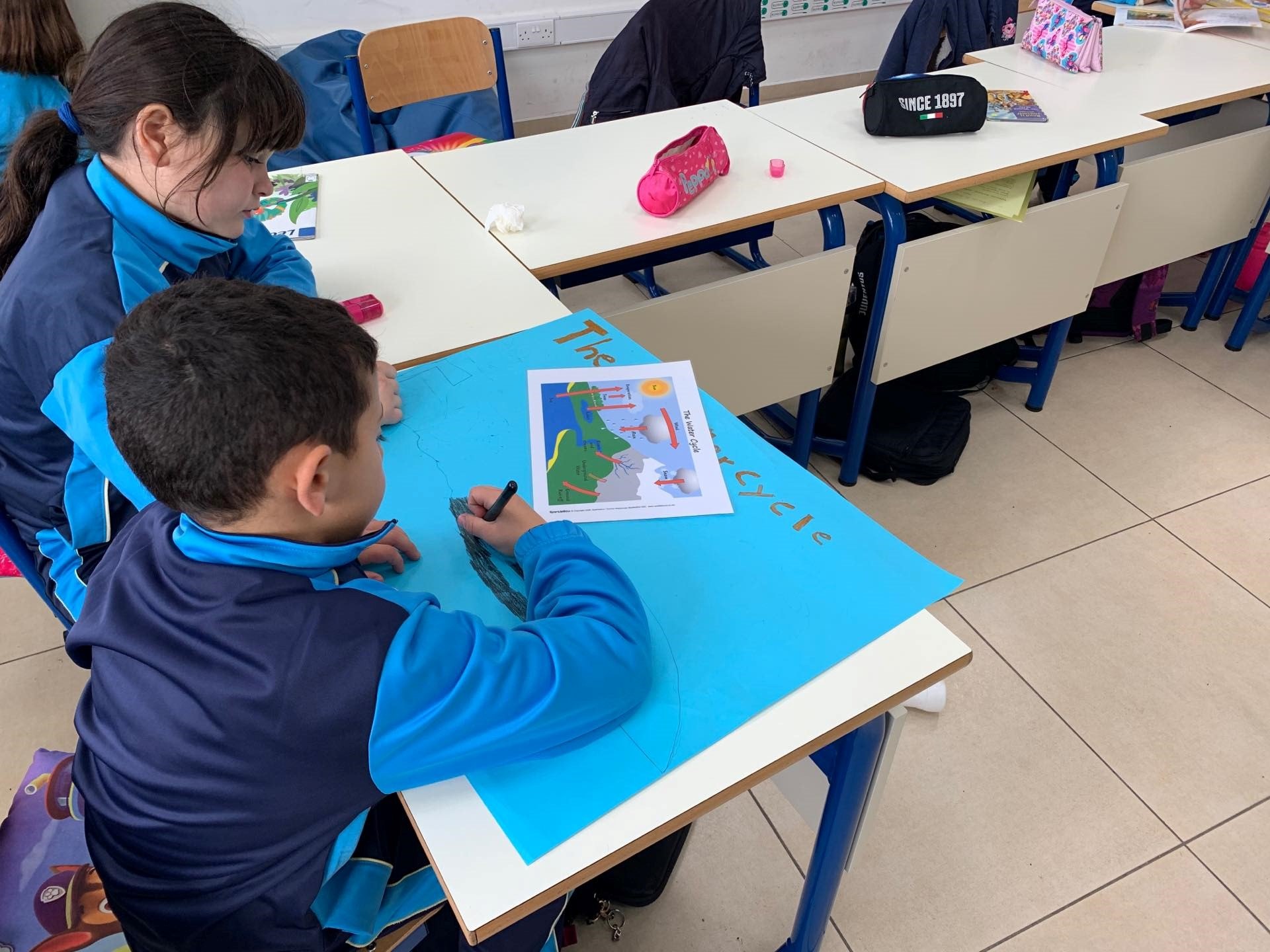 Students, and their work, at the Gozo College Xewkija Primary School (Gozo, Malta)