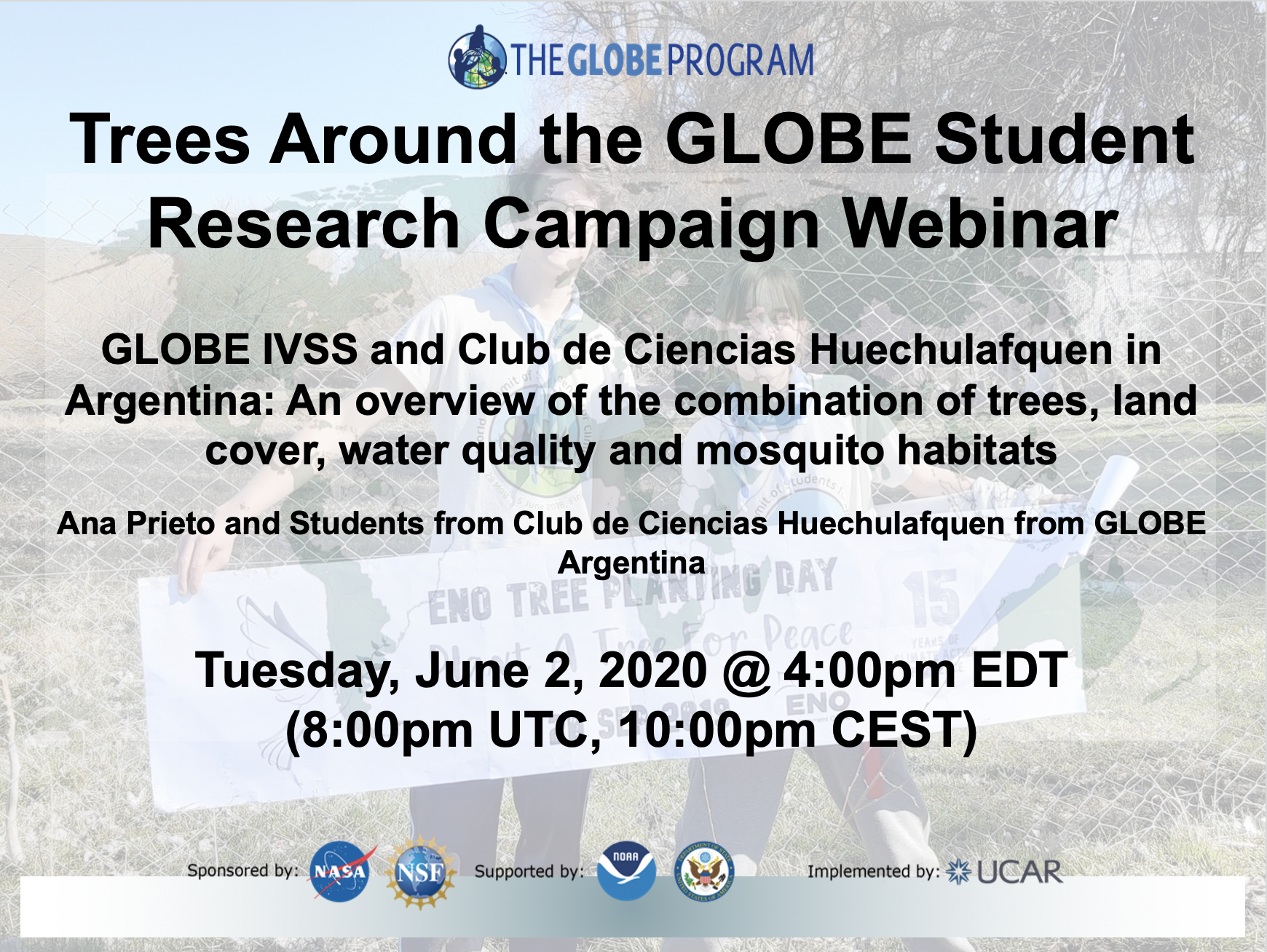 Trees Around the GLOBE Student Research Campaign webinar 02 June shareable
