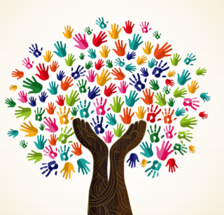 Graphic of a tree with hands of many colors, shapes, and sizes