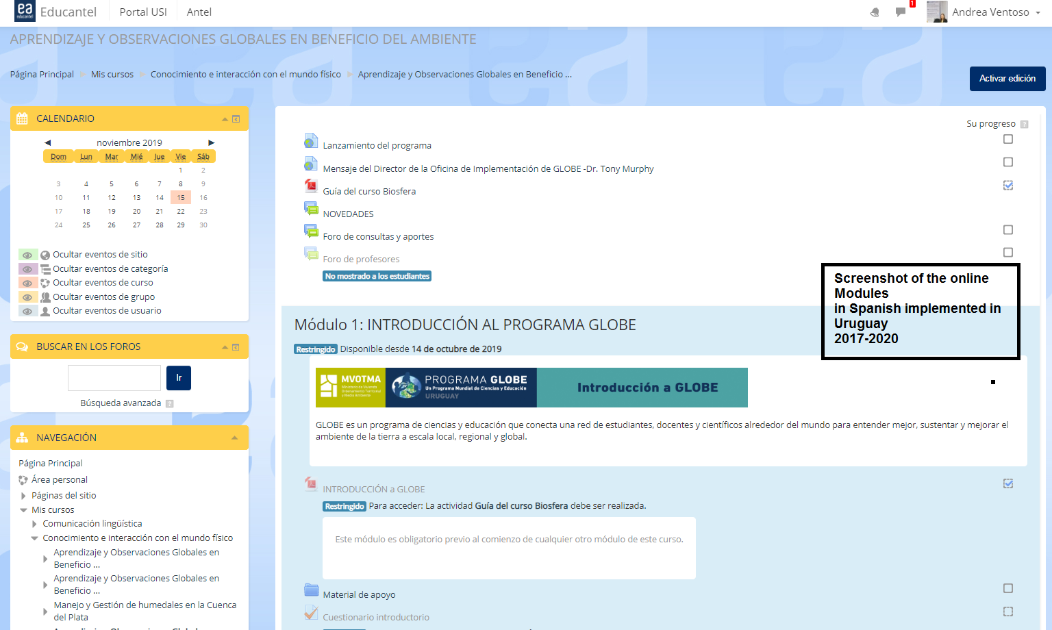 Screenshot of the online modules in Spanish, implemented in Uruguay, 2017-2020.