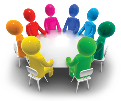 Graphic of a wide variety of people sitting around a table for discussion.