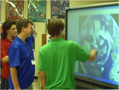 Students working with visualization tools