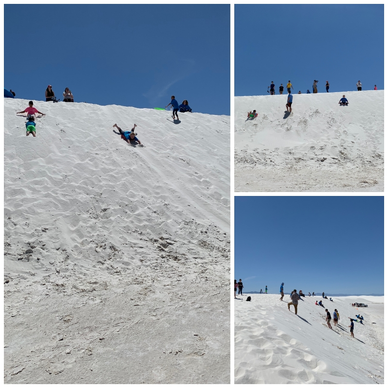 Collage of three pictures with students and teachers standing, sliding and enojying White Sands.
