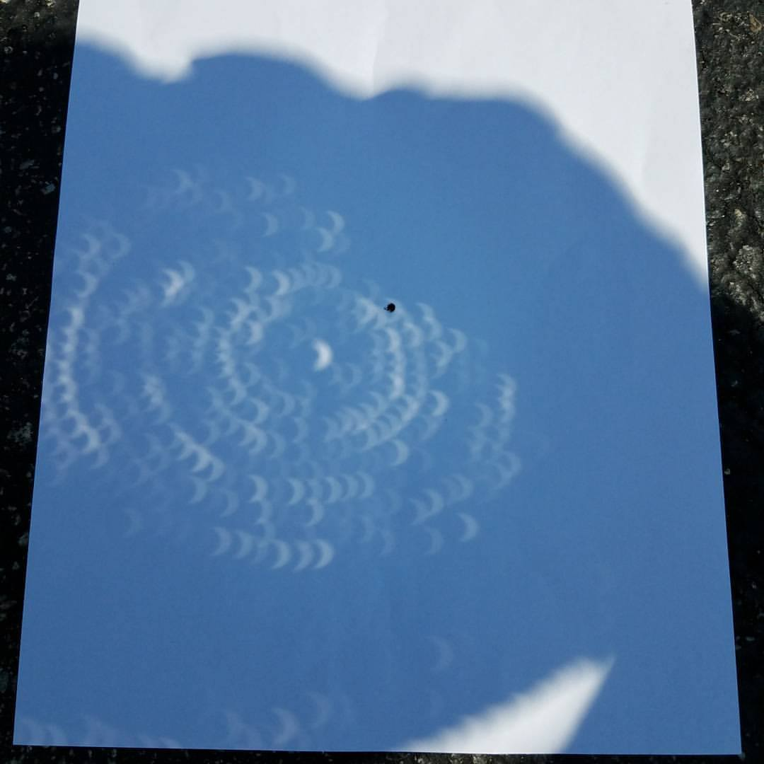 a shadow of the straw hat on a white piece of paper with visible eclipses seen in each hole that the sun shines through