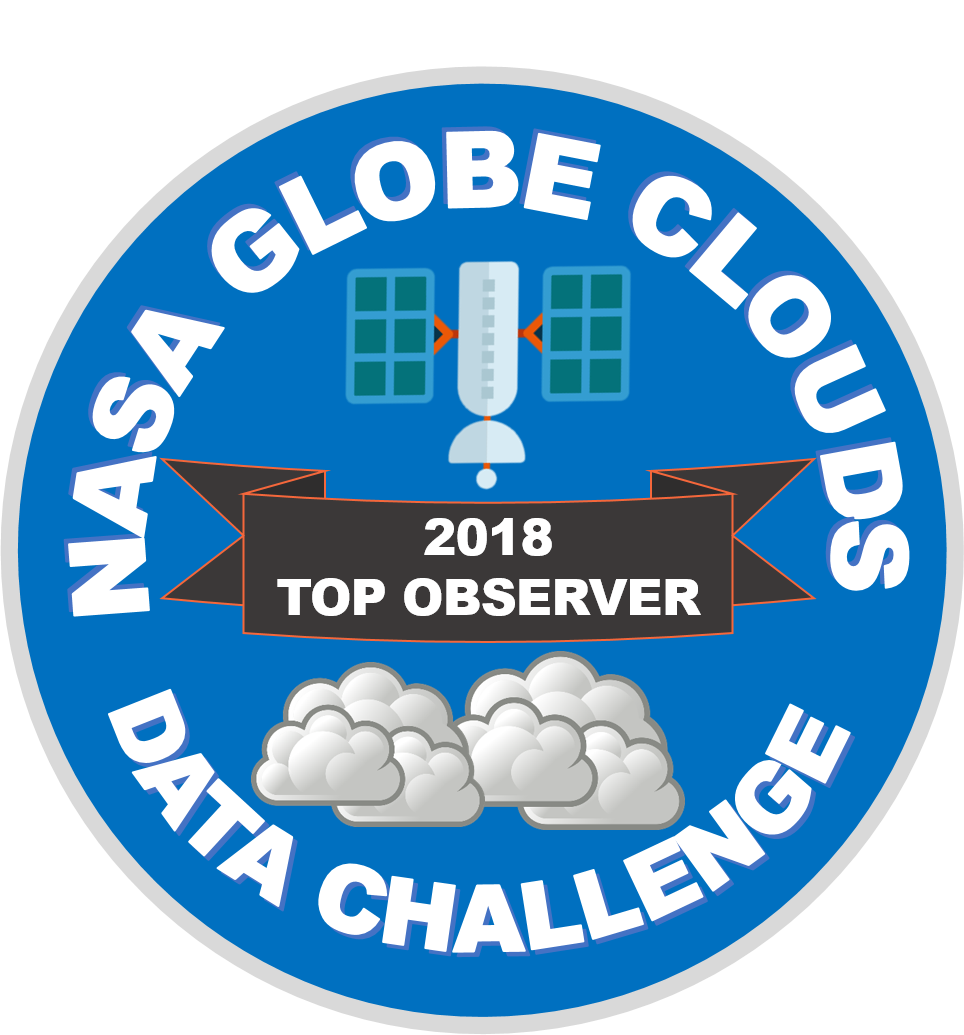 NASA GLOBE Cloud Data Challenge - 2018 Top Observer