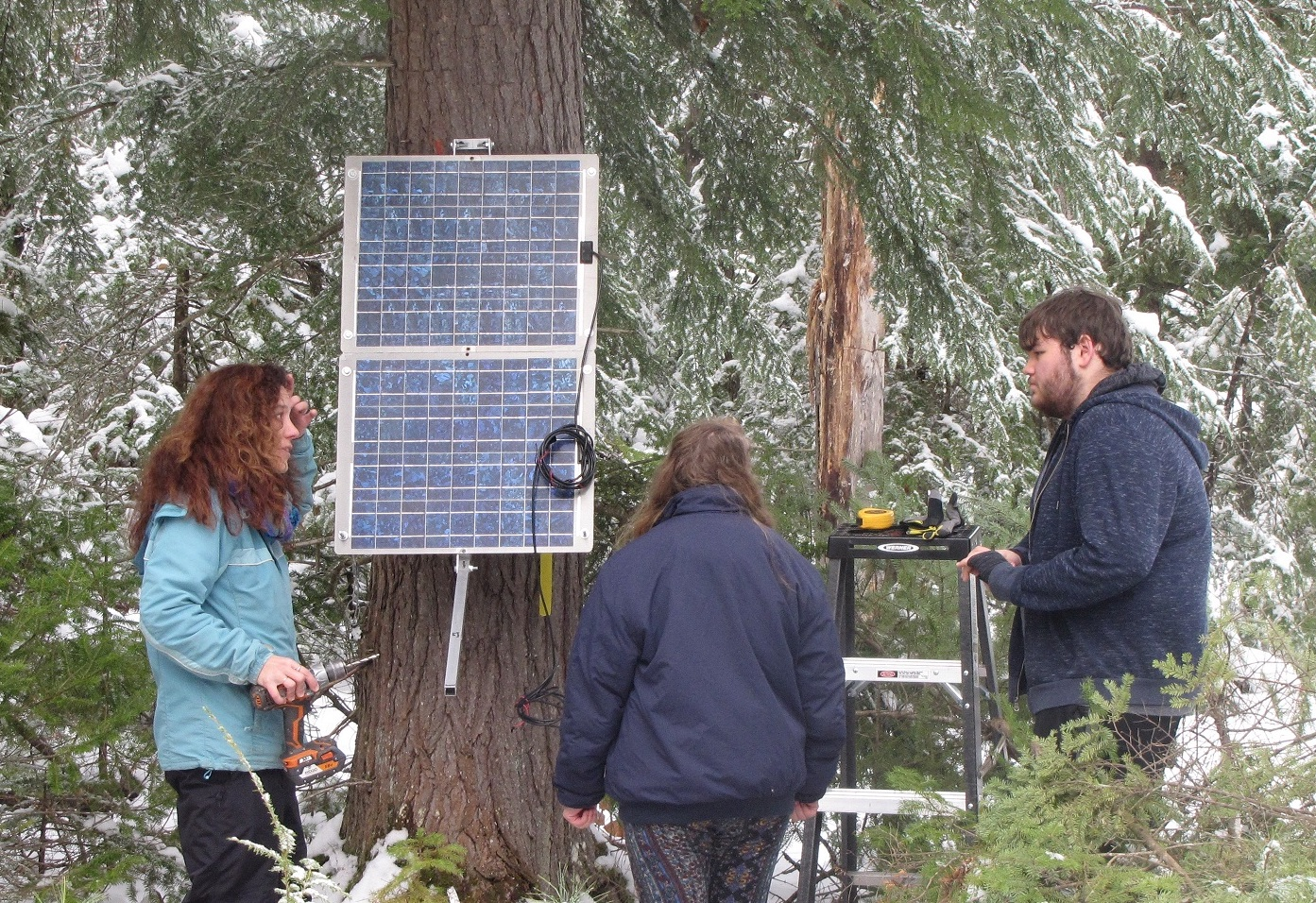 Apryl Perry, Amanda, and Jacob discuss solar panel angle