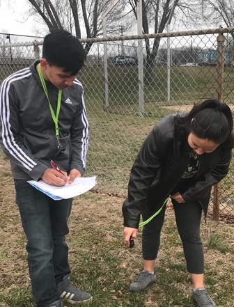 Students collecting surface temperature data