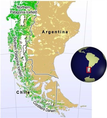 Map of the Patagonian Ice Fields, created by Hugo Ahlenius, UNEP/GRID-Arendal