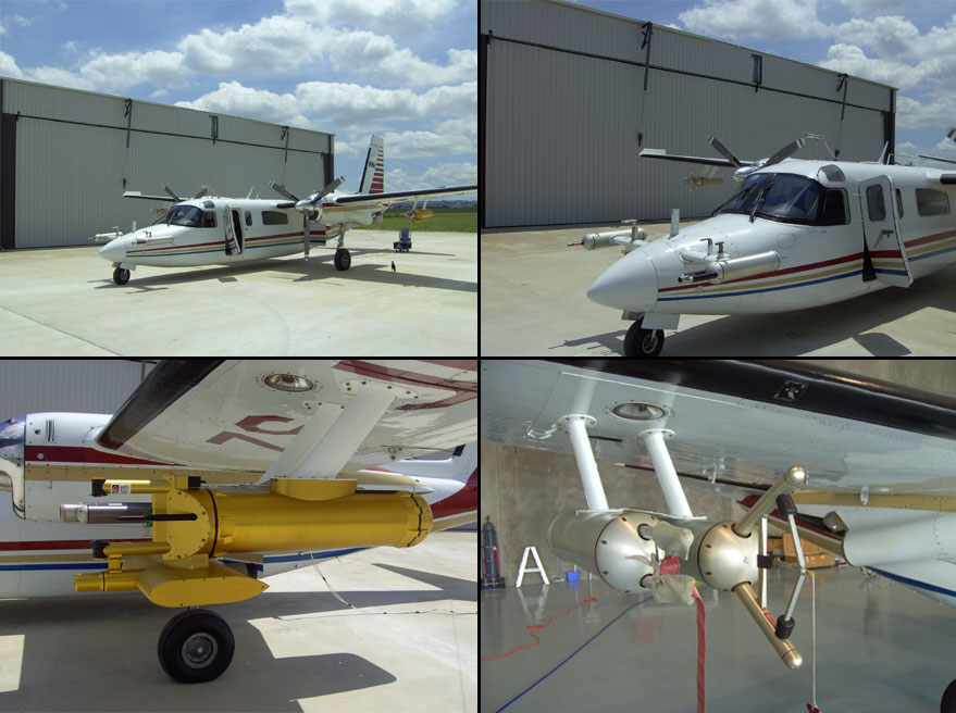 Photos of research aircraft and instruments