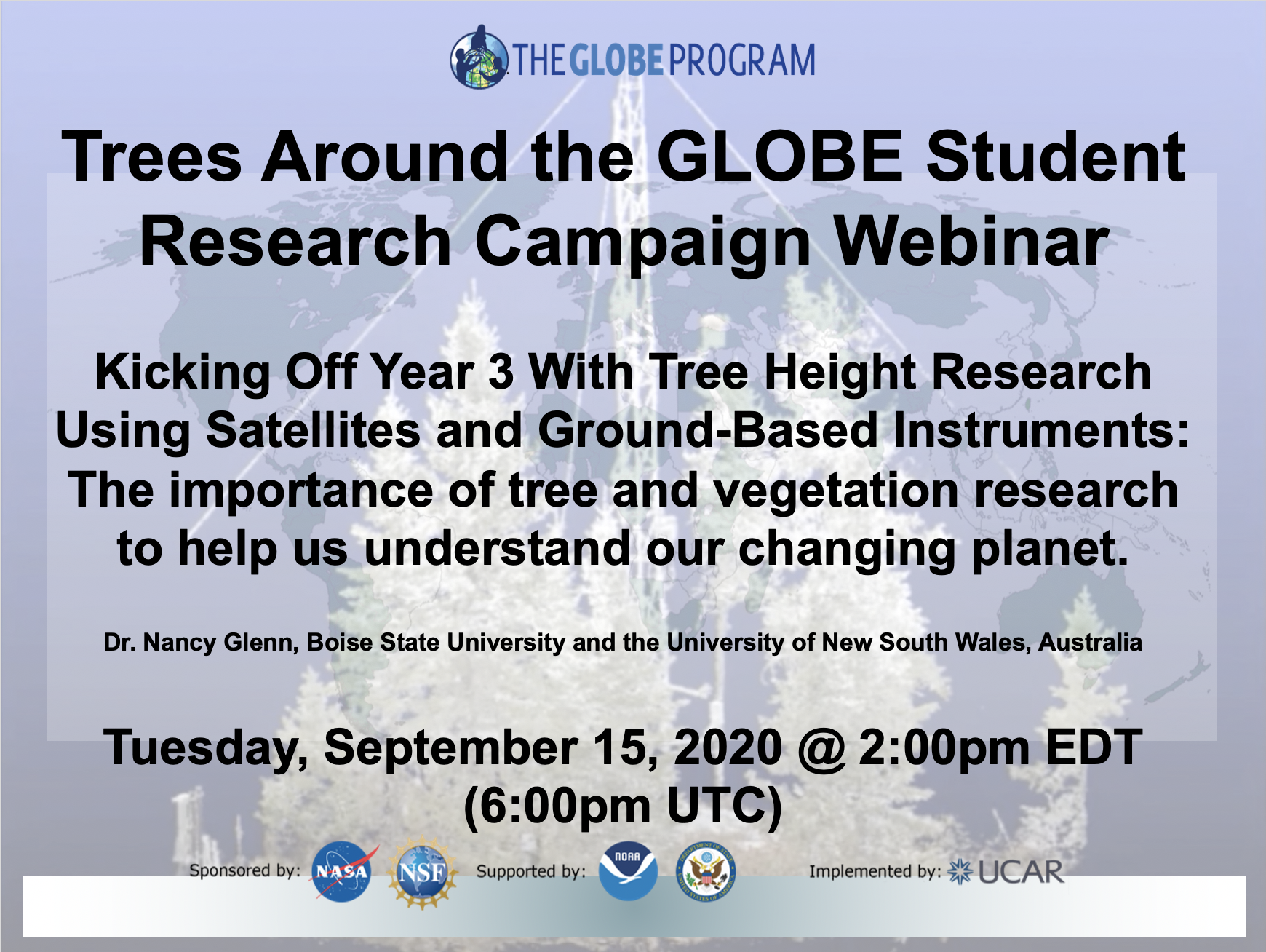 Trees Around the GLOBE Student Research Campaign Webinar Shareable