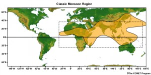Map of the monsoon region