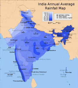 Rainfall distribution over India