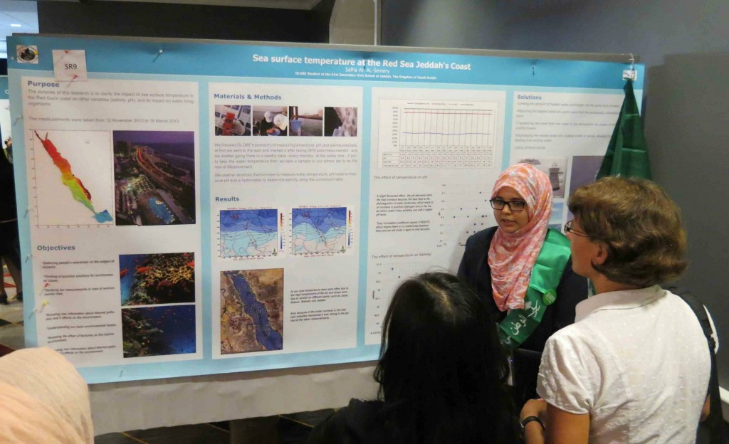 A student from Saudi Arabia presents her research during the 2nd Annual Student Research Exhibiton