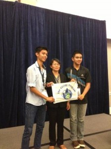Students from Bung Khong Long Wittayakom school accept their second place award with their teacher