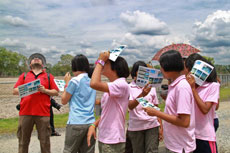 Students observing clouds
