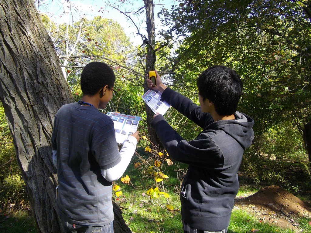 Students using a GLOBE Cloud Chart to record current cloud observations.