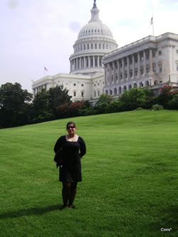woman in front of capitol building