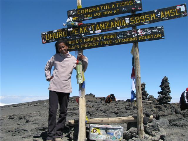 14 Year Old Ntombikayise Lebaka is the youngest GLOBE learner to summit Kilimanjaro